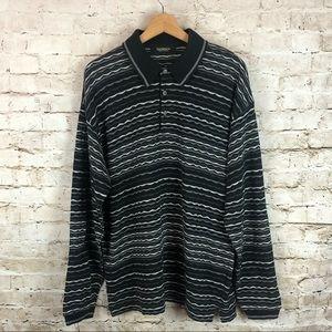 Men's Bachrach Polo Sweater Black Gray Size Large